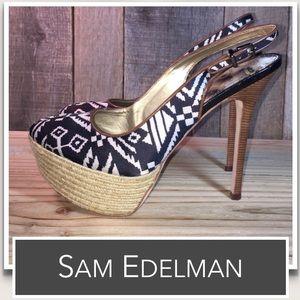 Sam Edelman Novato Peep Toe Leather Slingbacks